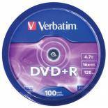 Диск DVD Verbatim 4.7Gb 16X CakeBox 100шт Фото 2