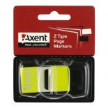 Стикер-закладка Axent Plastic bookmarks 25х45mm, 50шт, neon yellow Фото