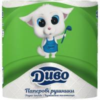 Паперові рушники Диво 2-слойные белые 50 отрывов 2 шт Фото