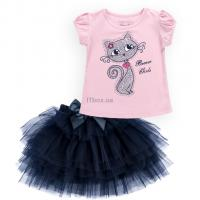 Набор детской одежды Breeze с котиком на футболке и фатиновой юбкой Фото