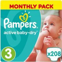 Подгузник Pampers Active Baby-Dry Midi Размер 3 (5-9 кг), 208 шт. Фото