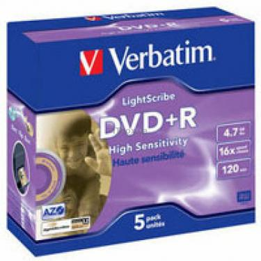 Диск DVD Verbatim 4.7Gb 16X Jewel case 5 шт LightScr (43575) - фото 1
