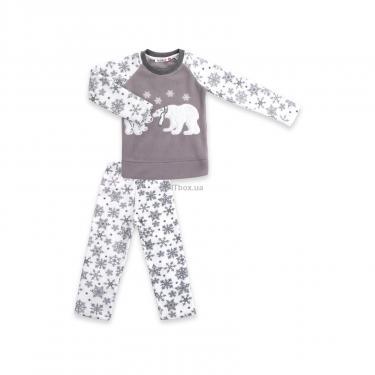 Пижама Matilda флисовая с мишками и снежинками (7161-134G-white) - фото 1