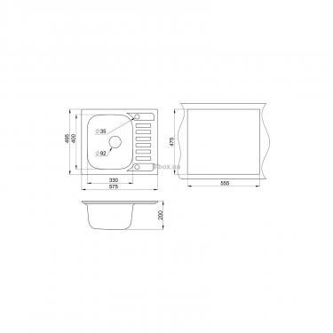 Мойка кухонная Minola MPG 1145-58 Черный Фото 1