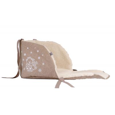 Матрасик в санки Baby Breeze Открытый из овечьей шерсти Cappuccino (19030)
